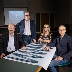 Researchers Philippe Geubelle, left, Scott White, Nancy Sottos and Jeffrey Moore have developed a new polymer-curing process that could reduce the amount of time and energy consumed compared with the current manufacturing process. Photo by L. Brian Stauffer