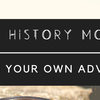 Womxn's History Month banner with Tag line of Choose your own adventure. Text on a black bar over someone's hiking boot on a rock.